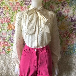 VTG 70s PUSSY BOW POLKA DOT BUTTON BLOUSE size 16